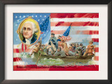 Washington Crossing the Delaware, With Portrait Inset Prints
