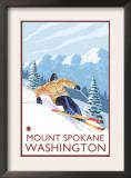 Downhhill Snow Skier, Mount Spokane, Washington Prints