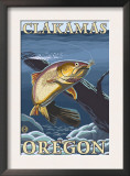 Trout Fishing Cross-Section, Clackamas, Oregon Posters