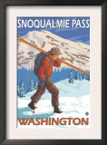 Skier Carrying Snow Skis, Snoqualmie Pass, Washington Poster