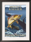 Trout Fishing Cross-Section, Mount Rainier, Washington Posters