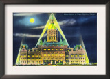 Hartford, Connecticut - Exterior View of the State Capitol Building at Night Prints