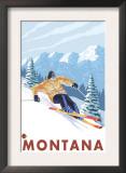 Downhhill Snow Skier, Montana Print