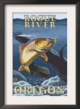Trout Fishing Cross-Section, Rogue River, Oregon Posters