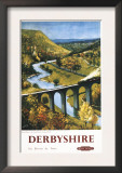 Derbyshire, England - Monsal Dale, Train and Viaduct British Rail Poster Prints