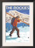Skier Carrying Snow Skis, The Rockies Posters