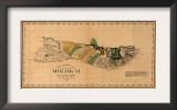 Hawaii - Panoramic Molokai Island Map Prints