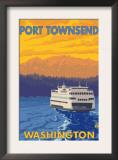 Ferry and Mountains, Port Townsend, Washington Prints