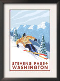 Downhhill Snow Skier, Stevens Pass, Washington Prints