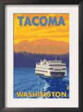 Ferry and Mountains, Tacoma, Washington Print
