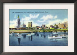 Hartford, Connecticut - Connecticut River View of the Hartfort Skyline, Waterfront Print