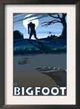 Big Foot walking through Golf Course Poster