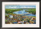 Hartford, Connecticut - Aerial View of the City and the Connecticut River Prints