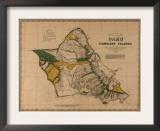 Hawaii - Panoramic Oahu Island Map Art