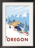 Downhhill Snow Skier, Oregon Prints