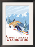 Downhhill Snow Skier, Mount Adams, Washington Prints