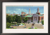 Hartford, Connecticut - Capitol Hill View of Bushnell Memorial, Lafayette Statue Poster