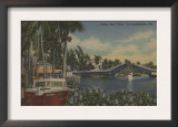 Ft. Lauderdale, FL - New River View & Drawbridge Print