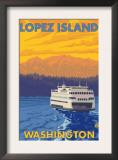 Ferry and Mountains, Lopez Island, Washington Prints