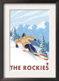 Downhhill Snow Skier, The Rockies Posters