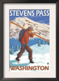 Skier Carrying Snow Skis, Stevens Pass, Washington Prints