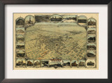 Bakersfield, California - Panoramic Map Poster