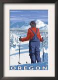 Skier Admiring, Oregon Prints