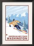 Downhhill Snow Skier, Snoqualmie Pass, Washington Poster