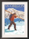 Skier Carrying Snow Skis, Oregon Prints