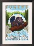 Beaver & River, Eugene, Oregon Poster