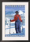 Skier Admiring, Stevens Pass, Washington Prints