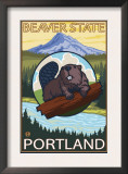 Beaver & Mt. Hood, Portland, Oregon Posters