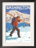 Skier Carrying Snow Skis, Washington Prints