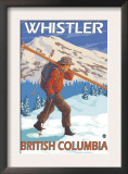 Skier Carrying Snow Skis, Whistler, BC Canada Prints