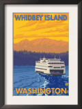 Ferry and Mountains, Whidbey Island, Washington Poster