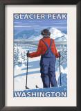 Skier Admiring, Glacier Peak, Washington Posters