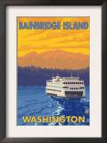 Ferry and Mountains, Bainbridge Island, Washington Posters