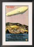 Baden-Baden, Germany - Luftschiff Zeppelin Airship over Town Poster Print