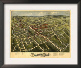 Danbury, Connecticut - Panoramic Map Art