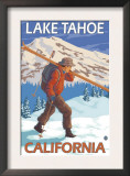 Skier Carrying Snow Skis, Lake Tahoe, California Print