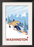 Downhhill Snow Skier, Washington Prints