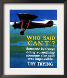 Who Said Can't - Try Trying - Airplane Flying Poster Prints