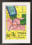 Ithaca, New York - Detailed Map Postcard of Ithaca and Nearby Points of Interest Poster