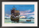 Plymouth, Massachusetts - The Mayflower Landing in 1620 Scene Poster