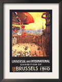 Brussels, Belgium - Lebaudy Airship with World Flags at Expo Posters