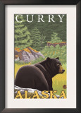 Black Bear in Forest, Curry, Alaska Posters