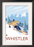 Downhhill Snow Skier, Whistler, BC Canada Prints