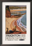 Paignton, England - British Railways Girl Looking over a Cliff Poster Poster