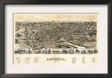 Roanoke, Virginia - Panoramic Map Poster