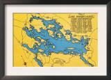 Lake Winnipesaukee, Maine - Roadmap of the Lake and Highways Poster